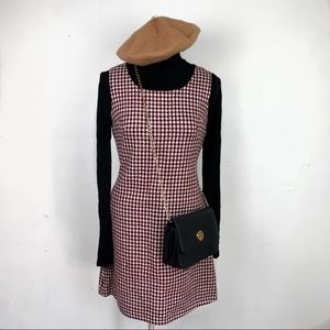 Romwe Houndstooth Pattern Square Pinny Style Dress